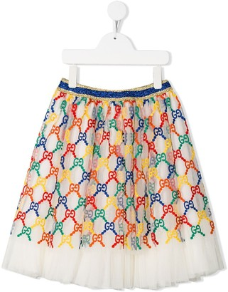 Gucci Kids Embroidered Logo Tutu Skirt