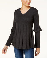 Style&Co. Style & Co Ruffled Pleated Sweater, Created for Macy's