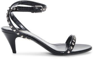 Saint Laurent Kiki Studded Kitten Heel Sandals