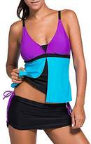 Bong Buy Womens Two Pieces Colorblock Padded Tankini Skirt Bottom Swimsuit(M,)