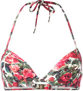 Dolce & Gabbana rose print bikini top - women - Polyamide/Spandex/Elastane - IV