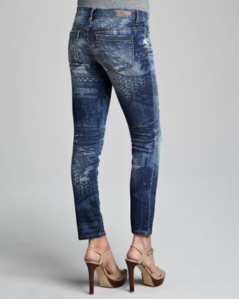Blank Printed Cropped Skinny Jeans