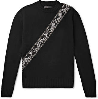Amiri Appliqued Wool And Cashmere-Blend Sweater