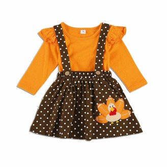 Dodoya Toddler Girl Thanksgiving Outfit Solid Color Long Sleeve Tee Shirt Tops Polka Dot Suspender Skirt Cute Turkey Outfits (Orange+Coffee 2-3 Years)