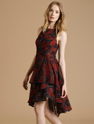 Halston Floral Pleated Dress
