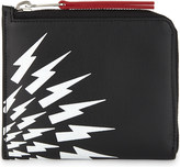 Neil Barrett White Thunder leather half-zip wallet