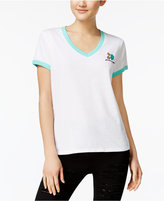 Mighty Fine Juniors' Gem Embroidered Ringer T-Shirt