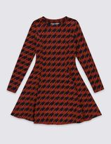 Marks and Spencer Cotton Rich Dogtooth Dress (5-14 Years)