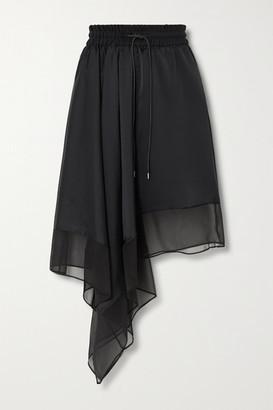 Sacai Asymmetric Satin And Chiffon Skirt