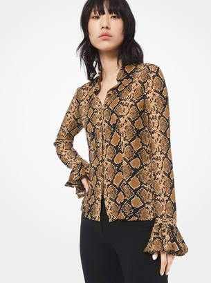 Michael Kors Python Crushed Silk-Georgette Blouse