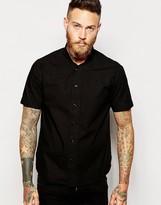 Ymc Shirt With Baseball Neck In Cotton Poplin In Black - Black
