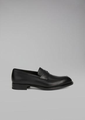 Giorgio Armani Galician Calfskin Leather Loafer With Saddle Strap