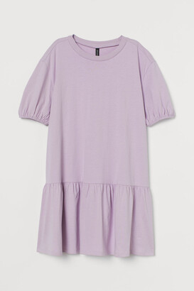 H&M Puff-sleeved Jersey Dress - Purple