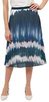 Jaeger Ombré Print Pleated Skirt, Blue/Multi