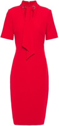 Badgley Mischka Tie-neck Stretch-crepe Dress