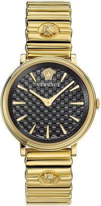 Versace V-Circle Logomania 38mm Watch in IP Yellow Gold & Black Dial | FWRD