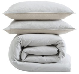 ED Ellen Degeneres Washed Cotton Full/Queen Duvet Cover Set, 3 Piece Bedding