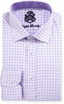 English Laundry Square-Print Cotton Dress Shirt, Purple