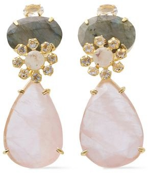 Bounkit 14-karat Gold-plated, Moonstone, Quartz And Labradorite Earrings