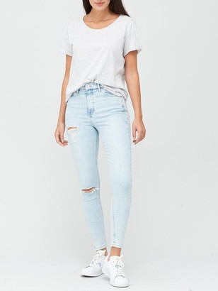 Very SustainablePremium High Waist Double Ripped Skinny Jeans - Bleach Wash