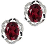Gem Stone King 2.84 Ct Oval Red Rhodolite Garnet and White Diamond 18k White Gold Earrings