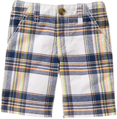 Crazy 8 White & Navy Plaid Flat-Front Shorts - Infant & Toddler