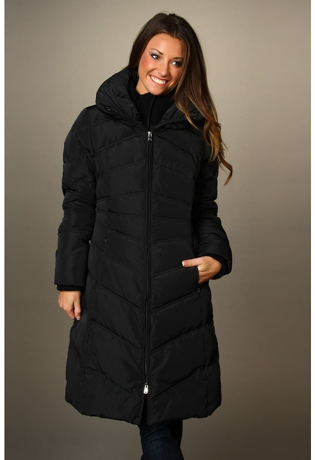 Jessica Simpson Down Maxi Coat w/ Bib and Knit Collar (Black) - Apparel