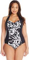 Anne Cole Women's Plus-Size Antigua Floral Print Shirred Halter One Piece Swimsuit