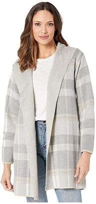 Calvin Klein Hooded Sweater Jacket (Grey Heather Multi) Women's Clothing