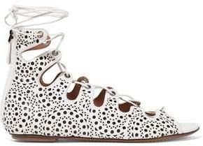 Alaia Lace-up Laser-cut Leather Sandals