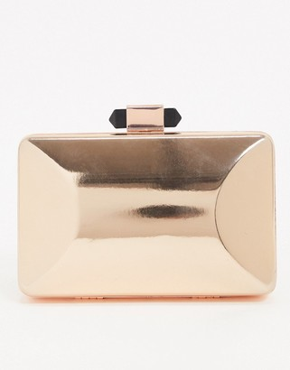 True Decadence Exclusive rose gold square box clutch bag with detachable strap