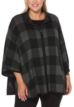 Rafaella Women's Plus Size Sweater Ponch With Zipper Front
