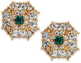 Charter Club Gold-Tone Crystal & Green Stone Button Earrings, Created for Macy's