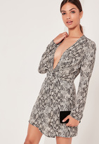 Missguided Silky Plunge Wrap Dress Snake Print