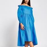 River Island Blue long sleeve bardot midi dress