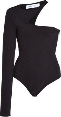 Saks Potts Kit Logo-Print Jersey One-Shoulder Bodysuit