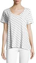 Lord & Taylor Plus Dot-Print Cotton Slub V-neck Roll Sleeve Tee