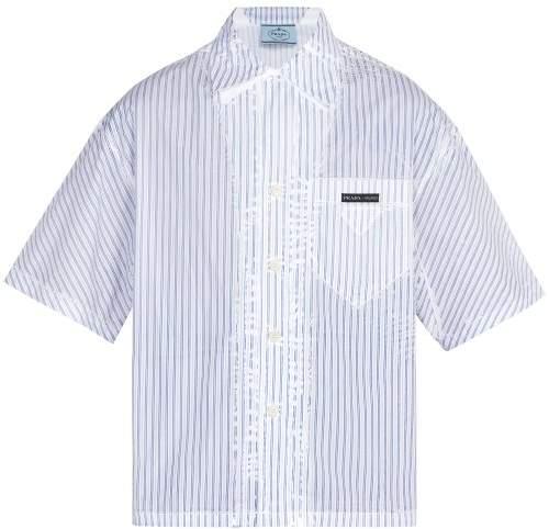 Prada Short Sleeved Striped Shirt - Mens - White Multi