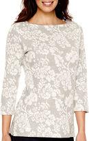 ST. JOHN'S BAY St. John's Bay 3/4-Sleeve Floral Textured Sweatshirt