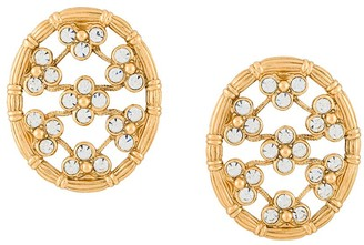 Christian Dior 1990s Pre-Owned Oversized Round Flower Earrings