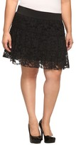 Black Tiered Floral Lace Mini Skirt