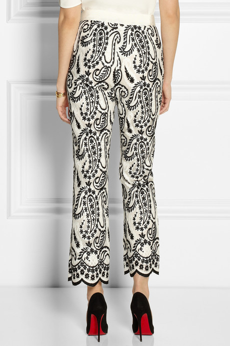 Giambattista Valli Paisley-embroidered organza wide-leg pants