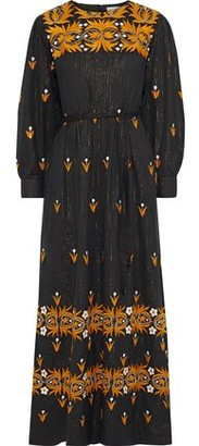 Antik Batik Mexi Pleated Metallic Embroidered Cotton Maxi Dress