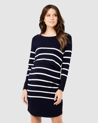Ripe Maternity Women's Navy Long Sleeve Dresses - Valerie Up Down Nursing Tunic - Size One Size, XS at The Iconic