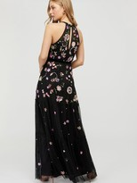 Monsoon Cara Floral Embellished Maxi Dress - Black