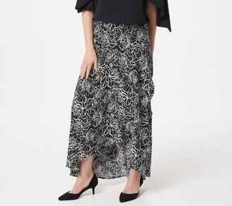 Du Jour Pull-On Printed Asymmetric Hem Woven Maxi Skirt