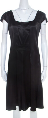 Emporio Armani Black Silk Satin Scoop Neck Pleated Shift Dress M