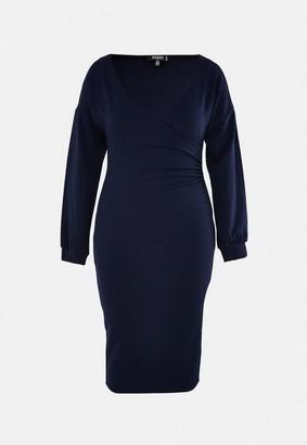 Missguided Plus Size Navy Wrap Midi Dress