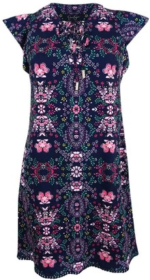 Jessica Simpson Women's Printed Lace Up Dress 8