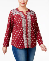Style&Co. Style & Co Plus Size Printed Split-Neck Shirt, Only at Macy's
